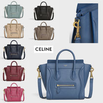 CELINE Luggage Casual Style Calfskin Blended Fabrics 2WAY Shoulder Bags