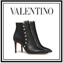 VALENTINO Studded Plain Pin Heels Ankle & Booties Boots