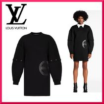 Louis Vuitton Short Tight Cotton Oversized Puff Sleeves Dresses