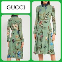GUCCI Flower Patterns Long Sleeves Medium Dresses