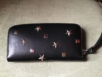 Star Studded Plain Leather Long Wallets