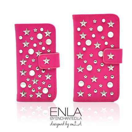 Star Dots Blended Fabrics Studded Leather Handmade iPhone 8