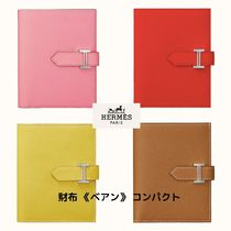 HERMES Bearn Unisex Logo Folding Wallets