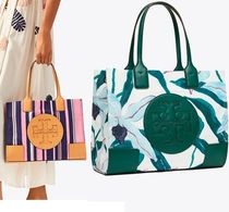 Tory Burch ELLA TOTE Stripes Flower Patterns Nylon A4 Office Style Totes