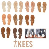 TKEES NUDES Open Toe Rubber Sole Casual Style Plain Leather Flip Flops