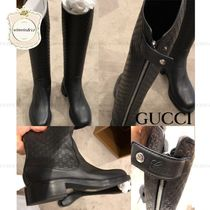 GUCCI Plain Leather Elegant Style Logo Boots Boots