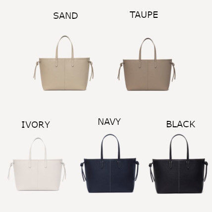A4 Plain Leather Elegant Style Totes