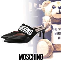Moschino Plain Leather Pin Heels Sandals Sandal