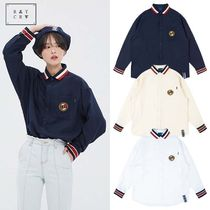 ROMANTIC CROWN Stripes Casual Style Unisex Street Style Long Sleeves Long
