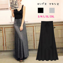 Casual Style Maxi Plain Cotton Long Maxi Skirts