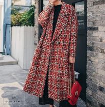 Other Check Patterns Tweed Long Office Style Coats