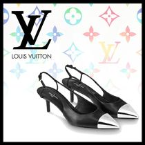 Louis Vuitton Leather Pin Heels Elegant Style Pointed Toe Pumps & Mules