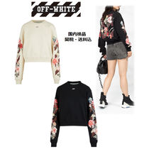 Off-White Short Long Sleeves Plain Cotton Cropped