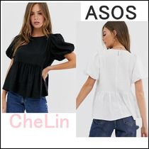 ASOS Casual Style Linen Puffed Sleeves Plain Shirts & Blouses
