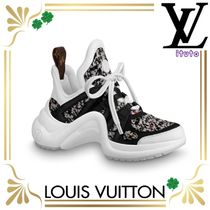 Louis Vuitton Other Plaid Patterns Round Toe Rubber Sole Blended Fabrics