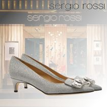 Sergio Rossi Open Toe Plain Leather Elegant Style Peep Toe Pumps & Mules