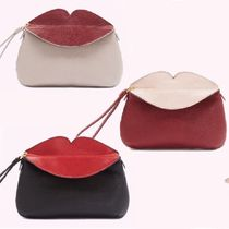 Lulu Guinness Stripes 2WAY Bi-color Leather Party Style Clutches