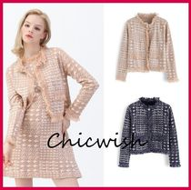Chicwish Short Zigzag Tassel Long Sleeves With Jewels Elegant Style