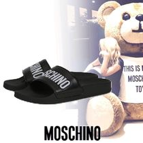 Moschino Open Toe Casual Style Unisex Shower Shoes PVC Clothing