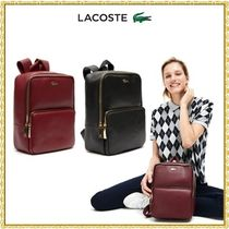 LACOSTE Casual Style A4 Plain Leather Backpacks