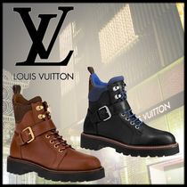 Louis Vuitton Monogram Mountain Boots Round Toe Rubber Sole Casual Style