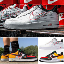 Nike AIR FORCE 1 Blended Fabrics Street Style Collaboration Leather Sneakers