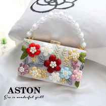 Flower Patterns Casual Style 2WAY Chain Shoulder Bags