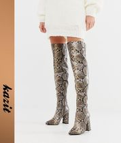ASOS Casual Style Faux Fur Block Heels Python Over-the-Knee Boots