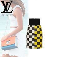 Louis Vuitton DAMIER Pencil Skirts Other Check Patterns Blended Fabrics Leather