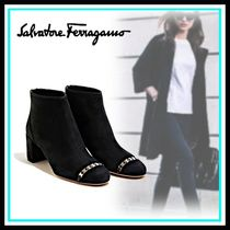 Salvatore Ferragamo Blended Fabrics Leather Home Party Ideas Mid Heel Boots