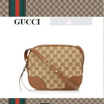 GUCCI Unisex Blended Fabrics Leather Shoulder Bags