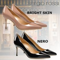 Sergio Rossi Leather Pin Heels Elegant Style Pointed Toe Pumps & Mules