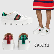 GUCCI Platform Casual Style Unisex Street Style Leather