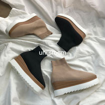 Platform Round Toe Casual Style Blended Fabrics Bi-color