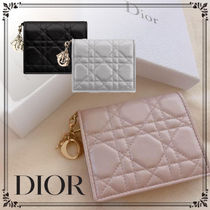 Christian Dior LADY DIOR Lambskin Street Style Plain Home Party Ideas Folding Wallets