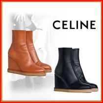 CELINE Round Toe Plain Leather Wedge Boots