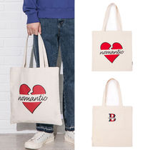 beyond closet Casual Style Unisex Canvas Street Style A4 Plain Totes