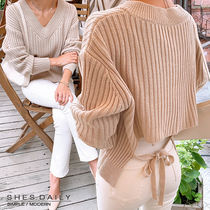 Casual Style Rib V-Neck Long Sleeves Plain Medium Sweaters