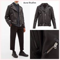 Acne Short Street Style Plain Leather Biker Jackets