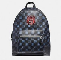 Coach Other Check Patterns Street Style A4 PVC Clothing Backpacks
