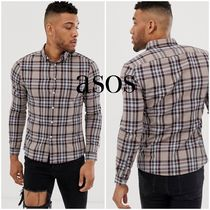 ASOS Other Plaid Patterns Street Style Long Sleeves Cotton Shirts