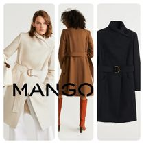 MANGO Wool Plain Medium Office Style Chester Coats