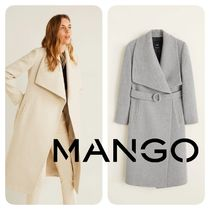 MANGO Stripes Wool Long Elegant Style Coats