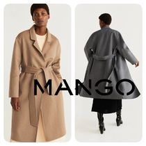 MANGO Wool Plain Long Office Style Chester Coats