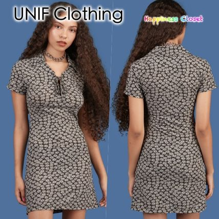 Short Flower Patterns Casual Style Short Sleeves