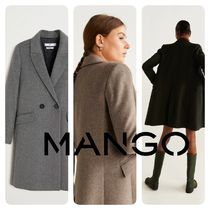 MANGO Wool Plain Long Chester Coats