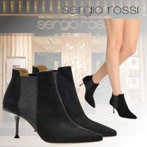 Sergio Rossi Suede Plain Pin Heels Elegant Style Ankle & Booties Boots