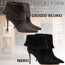 Sergio Rossi Plain Pin Heels Elegant Style Ankle & Booties Boots