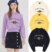 ROMANTIC CROWN Street Style Long Sleeves Cotton Polo Shirts