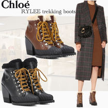 Chloe Mountain Boots Leather Block Heels Outdoor Boots